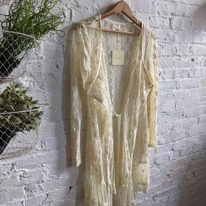 Y2K Vintage Lace and Crochet Floral Boho Cardigan